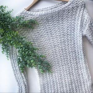 Loft   Cozy Cotton Knit Sweater White Grey XS